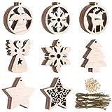48 Piezas Adornos para Árboles de Navidad, Colgantes de Madera de Navidad con Cuerdas y Cuentas para Navidad
