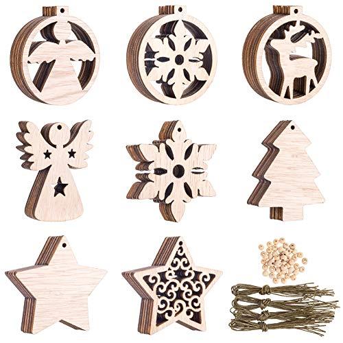 Kiiwah 48 Stück Christbaumschmuck Holz, Weihnachten Holzanhänger Weihnachtsanhänger mit Saiten und Perlen für Weihnachtsbaumschmuck