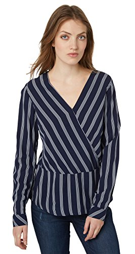 TOM TAILOR Damen deep Neck Striped Blouse Bluse, Blau (Sailor Blue 6990), 40