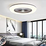 LED Fan Plafonnier Moderne Nordique Dimmable Ventilateur Au Plafond Avec Lampe Ultra-Mince Invisible 32W Lustre De Ventilateur Ultra Silencieux Chambre Salon Fan Lumière Éclairage(Ø55CM),Marron