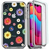 DecaStars for iPhone XR Case,with [2 x Tempered Glass Screen Protector] Clear Shockproof 360 Full Body Hard PC Soft Silicone TPU 3in1 Military Standard Protective Cover #11 Floral Daisy