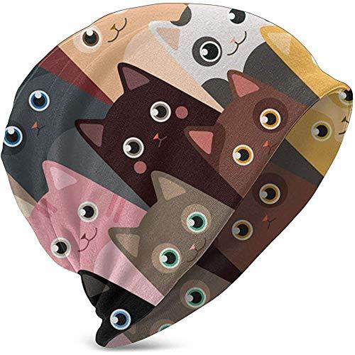 N \ A Cartoon-Katzen-Hedging-Kappe, dünn, modisch, cool, warm, für den Außenbereich, für Kinder, Strickmütze