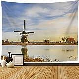 Tapiz de Pared Tapestry Bosom 43818 Eendrachtsmolen Zevenhuizen 19 de diciembre Uso del apartamento Mill Cane Fields Editorial holandesa Wall Hanging 80X60inch