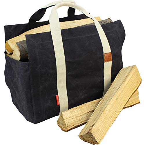 INNO STAGE Waxed Canvas Fire Wood Log Carrier Tote Bag Hay Hauling for Outdoor Camping or Fire Pit with Cotton Fabric and Double Straps for Reinforce  Both Inside and Outside