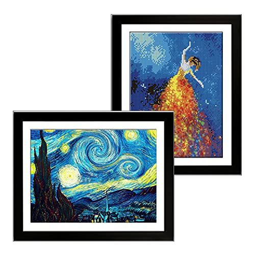Betionol -2 Pack- 12x16 inch Diamond Painting Picture Frames, Compatible with 30x40cm or Smaller Diamond Painting Pictures/Photos/Prints, Black Wooden Frames with Acrylic Organic Glass and Back Mat