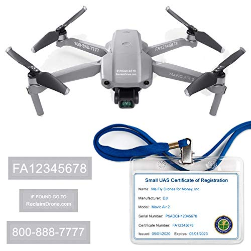 Mavic Air 2 - DJI - FAA Drone Labels (3 Sets of 3) + FAA UAS Registration ID Card for Commercial Pilots + Lanyard and ID Card Holder + Optional Battery Labels