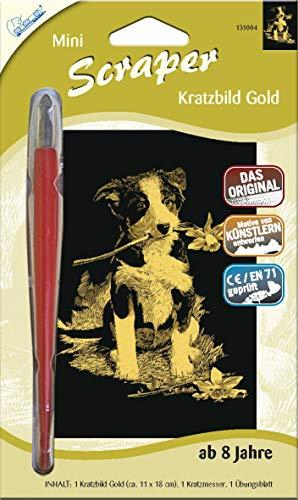 MAMMUT 131004 - Kratzbild, Motiv Hund, gold, glänzend, mini, Komplettset mit Kratzmesser und Übungsblatt, Scraper, Scratch, Kritzel, Kratzset für Kinder ab 8 Jahre