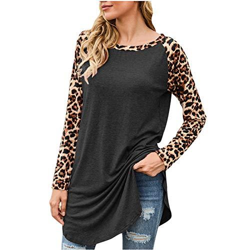 Blusa para Mujer 2020, Camisetas de Manga Larga con Cuello Redondo y Costuras de Leopardo de otoño e Invierno...