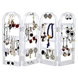256 Holes Acrylic Earrings Holder for Women,4 Doors Foldable Screen Necklace Display Rack,Hanging Jewelry Organizer Double Sided Stand Display,Clear By Cq acrylic