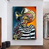 Sala De Decoracion Picasso Famosos Arte Poster Imprimir Fumar Hombre Pinturas Abstracto Hombre Cara Retrato Pared Arte Cuadro Para Sala Pared 50x70cm No Marco