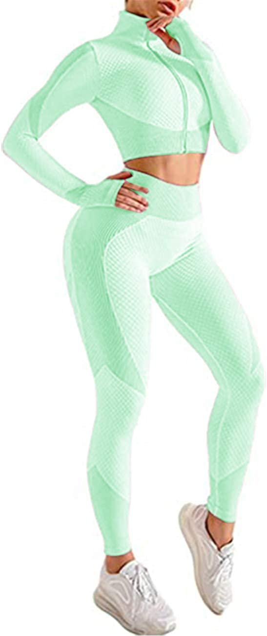 Lrady Women's Workout Outfit 2 Pieces Tracksuit-Seamless Yoga Leggings and Stretch Sports Bra Gym Clothes Set
