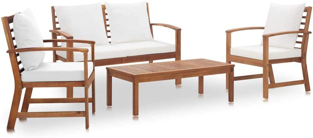 yeacher 4 Piece Garden Lounge Set Cushions with Solid Acacia OFFer Financial sales sale Woo