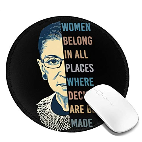 Mouse Pad RBG Ruth Bader Ginsburg Non-Slip Rubber Base Mousepad with Stitched Edge Round Gaming Mouth Mat for Laptop Computer Pc Office Quarantine 7.9 X 7.9 X 0.12 Inch