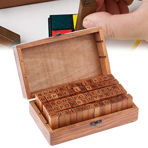 Sellos de madera de goma con letras del alfabeto y números de sello divertido de madera de tinta juego para máquina de escribir
