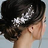 Vakkery - Diadema para novia, diseño de flores, color plateado y cristal, 2 unidades