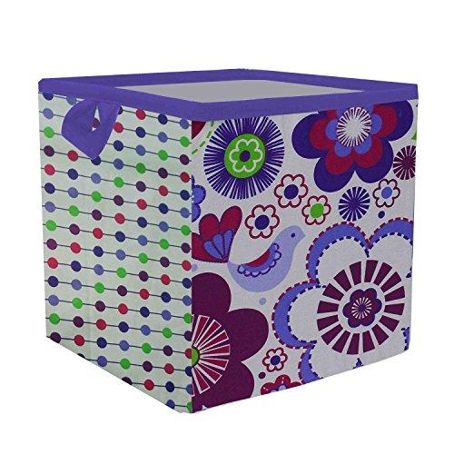 Bacati Botanical - Caja de almacenaje (tamaño pequeño), color morado