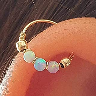 Thin Helix Hoop Earring - 24G 14k Gold Filld 2 mm tiny opal helix earring - white opal cartilage earring, gold cartilage hoop