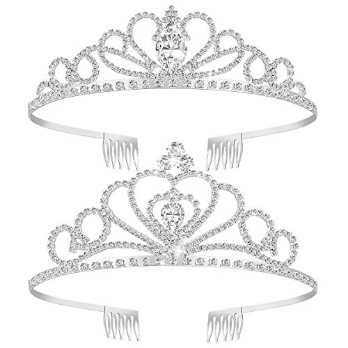 Tiara Crown 2 Pack, Frcolor Crystal Rhinestones Tiara Wedding Bridal Birthday Tiara Headband Princess Crown with Comb