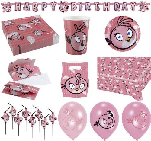 64-teiliges Party Set Angry Birds Pink Bird Teller, Becher, Servietten, Tischdecke, Einladungskarten, Partykette, Partytüten, Trinkhalme, Luftballons