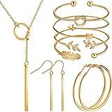 Hicarer Set de Joyaría de Barra Sencilla Pendientes Collar de Barra Vertical Brazalete Ajustable (Oro)