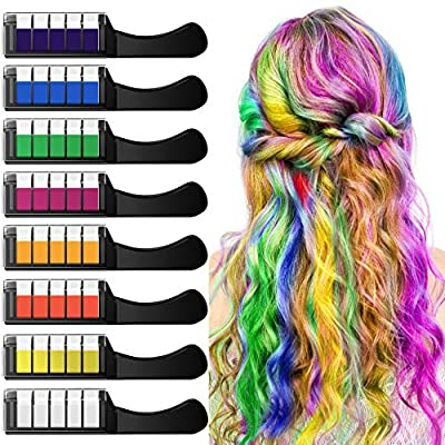 NANW Hair Chalk Comb with Protector Cover, 8 Colors Temporary Hair Color Chalk Dye Crayon Salon Set for Girls Teen Kids Gift, Safe Makeup Kit for Birthday Christmas Cosplay and DIY