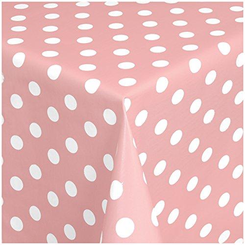TEXMAXX Wachstuchtischdecke Wachstischdecke Wachstuch Tischdecke abwaschbar (150-11) - 180 x 140 cm - PVC Tischdecke abwischbar, Punkte Muster in Rosa-Weiss