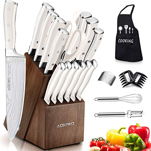 Knife Set, 22 Pieces Kitchen Knife Set with Block Wooden, Germany High Carbon Stainless Steel...