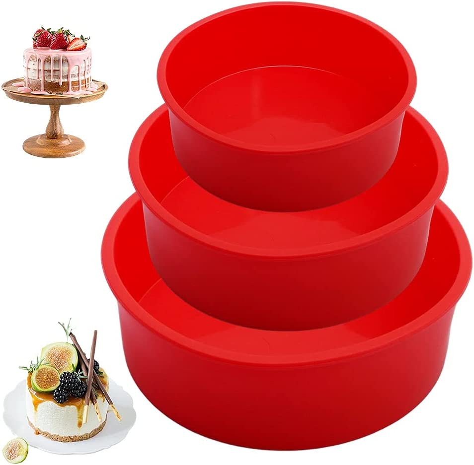 Xiaomin 3PCS Round Cake Max 54% OFF Pans Silicone Bak Red Baking Molds wholesale for