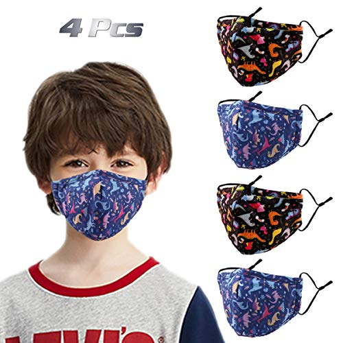 Woplagyreat Dinosaur Kids Face Mask with Adjustable Ear Loops, Cute Fabric Washable Reusable Cover, Designer Breathable Madks Facemask for Girl Boy Children Gift