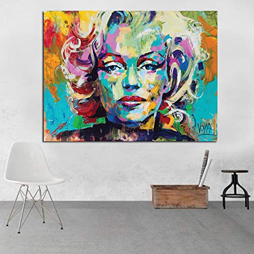 HGlSG Mes Olieverf Marilyn Monroe Canvas Canvas Grote Maat Portret Canvas Poster Voor Woonkamer Woonkamer Cuadros A3 60x90 cm
