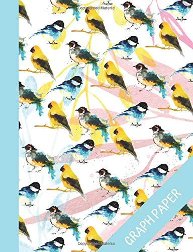Titmouse Graph Paper: Composition Notebook For Bird Lovers 120 pages, Math Grid Paper Journal, Great For Office And School Notes, Quad Ruled 5 Squares per Inch, Watercolor cover