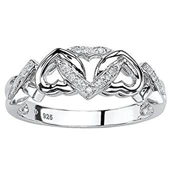 Platinum over Sterling Silver Genuine Diamond Accent Interlocking Heart Promise Ring Size 9