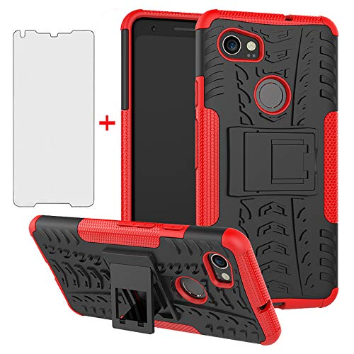 Phone Case for Google Pixel 2XL with Tempered Glass Screen Protector Cover and Stand Kickstand Hard Rugged Hybrid Heavy Duty Protective Cell Accessories Pixle 2 XL Pixel2XL Pixel2 LX Cases Black Red