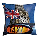 N/A Union Jack Throw Pillow Cushion Cover, Union Jack Flagon Pole and Big Ben Taxi Cab Urban Modern Country Symbols Image, Decorative Square Accent Pillow Case, 18 X 18 Inches, Multicolor