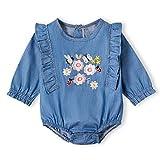 IFFEI Baby-Strampler für Mädchen, langärmelig, Denim, Blumenmuster, Bestickt Gr. 50, blau