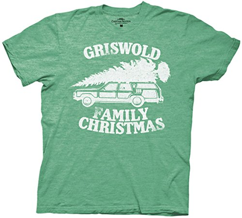 National Lampoon Griswold Family Christmas Vacation Mens T-Shirt(Heather Green,Medium)