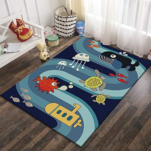 Naturer Teppich Kinderzimmer Junge 120x160 Größe Babyzimmer Kinderteppich Spielteppich Babyteppich mit Unterwasserwelt in Blau