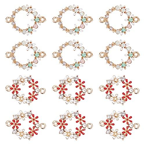 PandaHall 2 estilos de esmalte de flores enlaces encantos con cuentas de cristal de diamantes de imitación de oro conector colgantes para hacer collares y pulseras