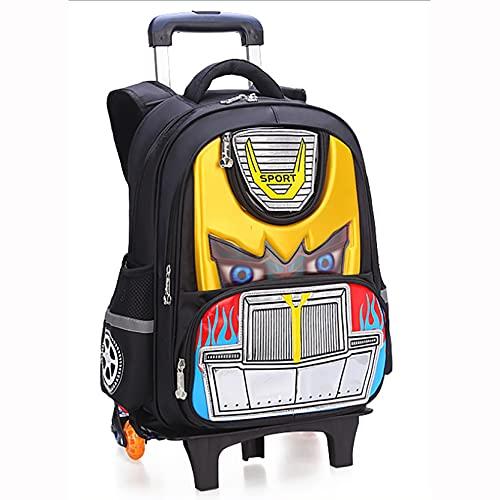 Zaino Trolley per Bambini Stampa 3D Borse da Scuola Zaino Casual Zainetto Trolley per Bambini Ragazzi Viaggi Laptop Libri Borsa Multifunzione Bagaglio Yellow-44cm* 33cm*14cm
