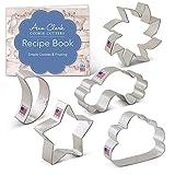 Ann Clark Cookie Cutters Juego de 5 cortadores de galletas cielo de día y de noche con libro de recetas, sol, luna, nube, arco iris y estrella