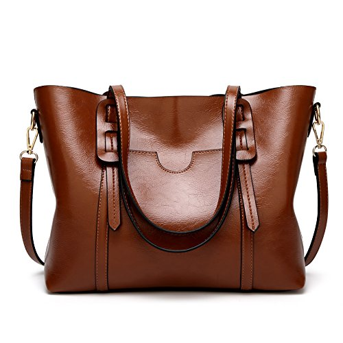 Aileese Womens Soft Leather Handbags Large Capacity Purse Top-Handle Casual Tote Shoulder Laptop Bags