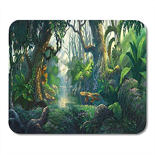 Muismat Jungle Fantasy Bos Schilderij Landschap Cartoon Verbeelding Natuur Mousepad Voor Notebooks Computers Muismatten - 9.4x7.8 inch