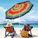 Funsite 6.5ft Beach Umbrellas for Sand, Portable UV 50+ Beach Umbrella with Heavy Duty Anchor, Protection with Tilt & Aluminum Pole, Umbrella Patio with Carry Bag