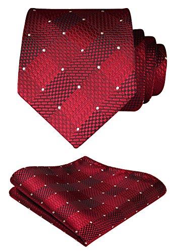 HISDERN extralarga Comprobar Panuelo de lazo Hombres Corbata & Plaza de bolsillo Conjunto rojo blanco