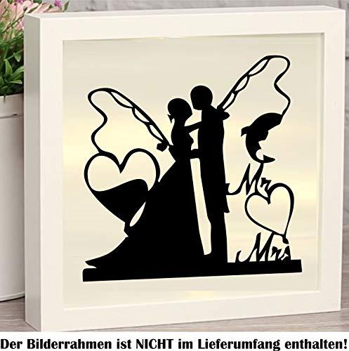 myrockshirt Angler Hochzeit Brautpaar mit Angeln & Herzen Mr. & Mrs. Ca 20cm Aufkleber für Bilderrahmen Beleuchtet Leuchten Dekokasten