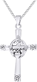 AFFY Trinity Knot Claddagh Celtic Cross Pendant Necklace in 14k Gold Over Sterling Silver