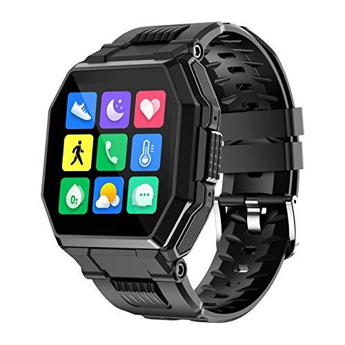 FMSBSC Smartwatch Hombre Reloj Inteligente Elegante Llamada Bluetooth Soporte para Hacer/contestar Llamadas telefónicas Monitor de Sueño Pulsómetros, 7 Modos Deportivos Fitness Tracker,Negro