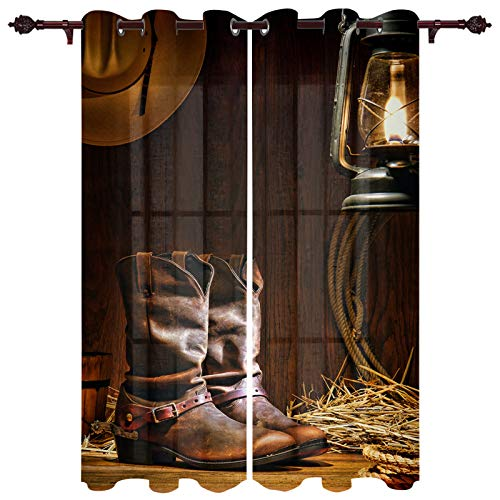 Big buy store Blackout Curtains Panels Leather Boot Oil Lamp Thermal Insulated Grommet Window Curtains Western Cowboy Room Darkening Curtain Drapes for Bedroom & Living Room 40inches W x 63inches L