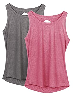 icyzone Yoga Tops Activewear Workout Clothes Open Back Fitness Racerback Tank Tops for Women(L,Grey/Sugar Coral)