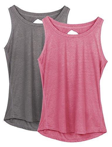 icyzone Damen Yoga Sport Tank Top Rückenfrei Fitness Oberteil ärmellos Shirts, 2er Pack (M, Grau/Rosa)